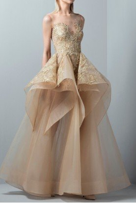 Gold Illusion Sweetheart Evening Ball Gown Bridal
