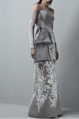 Grey Strapless Long Sleeve Crepe Bow Gown