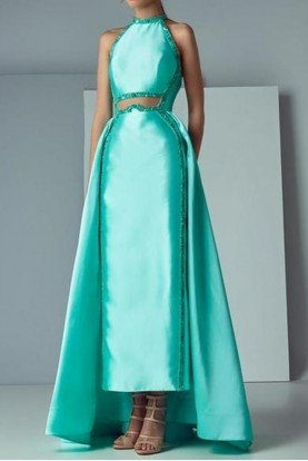 SK by Saiid Kobeisy Satin Duchesse Halter Gown Dress in Aqua
