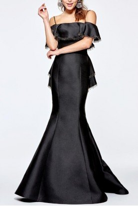 Black Off the Shoulder Alecta Taffeta Gown