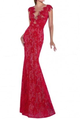 Red Cap Sleeve Mirian Lace Gown