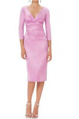 theia Orchid Pink Wrap Sleeve Cocktail Dress