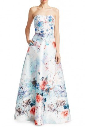theia Strapless Ice Blue Floral Evening Ball Gown