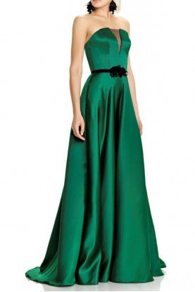 Green Strapless Evening Gown