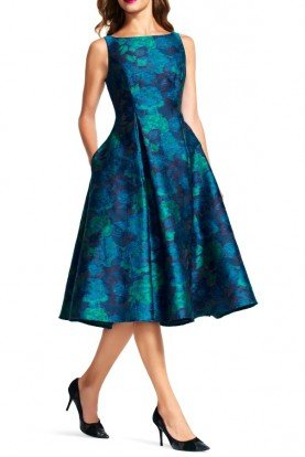 Adrianna Papell Sleeveless Floral Blue Tea Midi Dress w Pockets