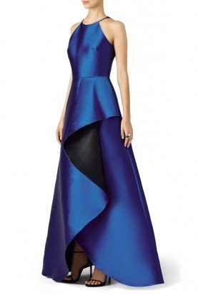 Cobalt Blue Ruffle Ball Gown Prom Dress