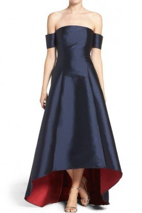 Sachin Babi Navy Off Shoulder Hi Low Gown