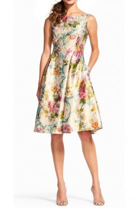 Adrianna Papell Sleeveless Floral Vine Cocktail Knee Length Dress
