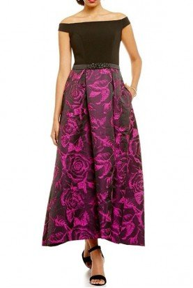 Carmen Marc Valvo Infusion Off the Shoulder Black Fuchsia Gown Dress