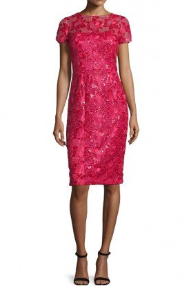 David Meister Pink Sequin Lace Short Sleeve Cocktail Dress