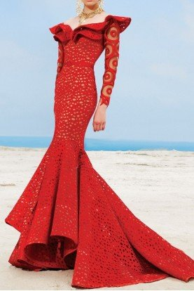 Fouad Sarkis Couture Couture Off Shoulder Red Long Sleeve Gown 2345