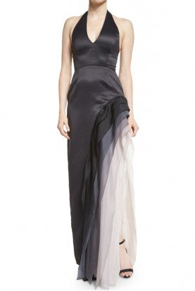 Black Smoke Satin Ombre Chiffon Halter Gown