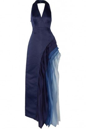 Indigo Blue Ombre Halter V Neck Gown Dress