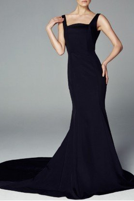 Navy Blue Sleeveless Faille Evening Gown Open Back