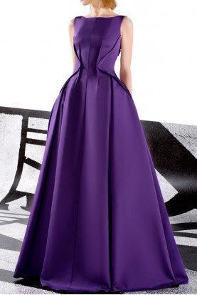 Purple Sleeveless Ball Gown Couture Evening Dress