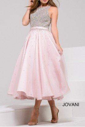 Blush Pink Silver Sequin Top Tea Two Tone Dress
