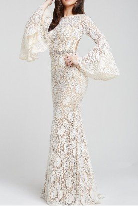 Jovani Long Bell Sleeve Lace Gown