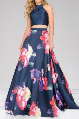 Jovani 48937 Navy Two Piece Floral Ball Gown