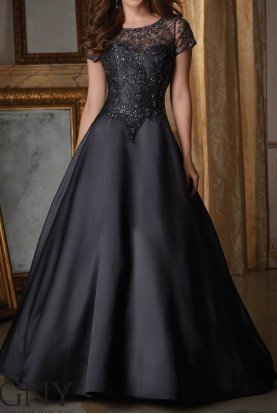MGNY by Mori Lee 71422 Jeweled Beading on Larissa Satin Ball Gown
