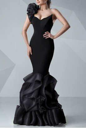 MNM Couture Black One Shoulder Ruffle Fitted Evening Gown