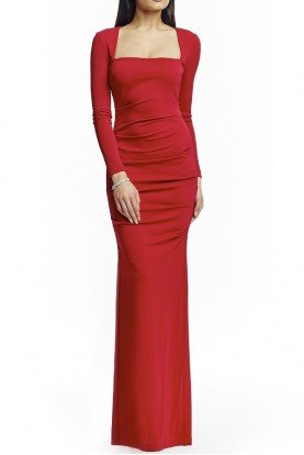 Nicole Miller Red Felicity Long Sleeve Jersey Evening Gown