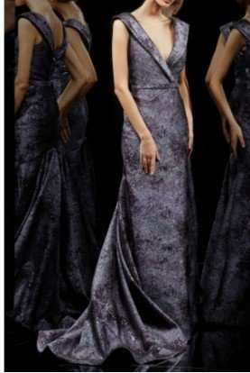 Pamella by Pamella Roland Dusty Purple Metallic Jacquard Evening Gown