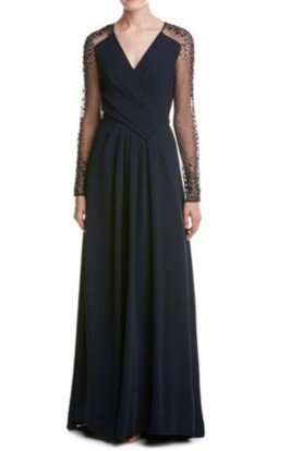 Pamella Roland Navy Mesh Long Sleeve Beaded Gown