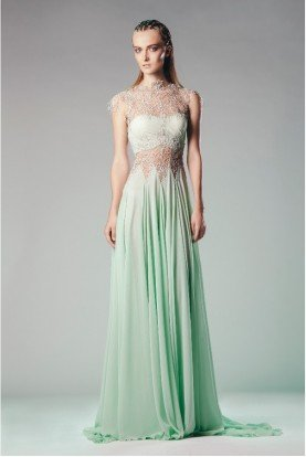 Pastel Green 3D Lace Illusion Evening Gown