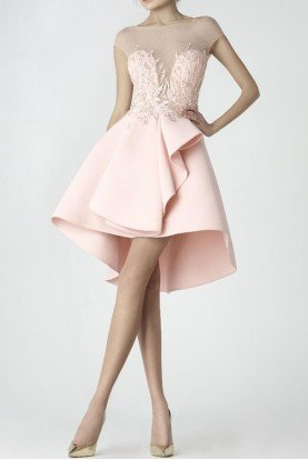 SK by Saiid Kobeisy Blush High Low Sweetheart Illusion Party Dress