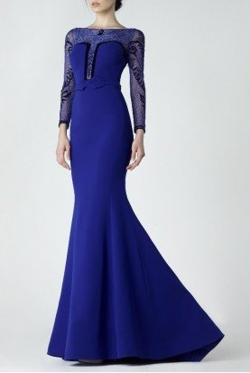 SK by Saiid Kobeisy Blue Evening Gown with Sheer Long Sleeves