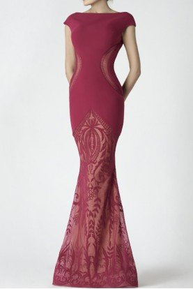 Carmine Red Cap Sleeve Evening Gown
