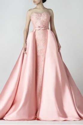 SK by Saiid Kobeisy A Line Blush Pink Strapless Ball Gown Bridal Dress