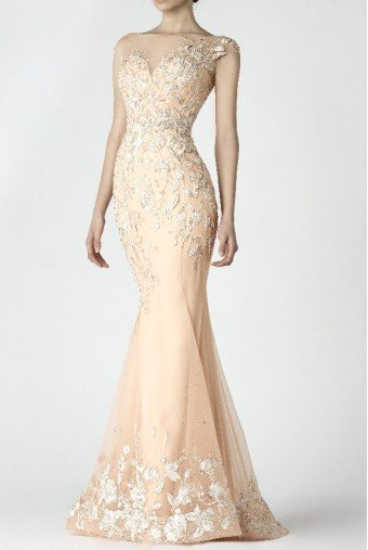 SK by Saiid Kobeisy Pastel Peach Cap Sleeve Trumpet Gown