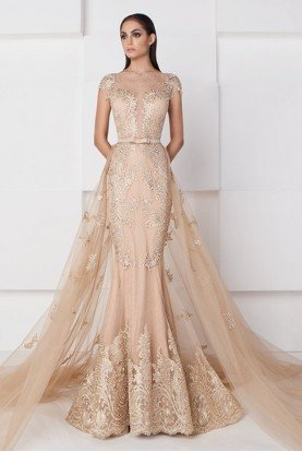 Gold Nude Lace and Tulle Couture Mermaid Gown