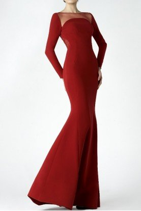 SK by Saiid Kobeisy Red Long Sleeve Evening Gown