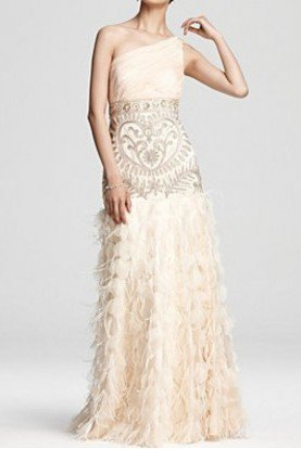 Beaded and Sequin Feather Dress in Champagne