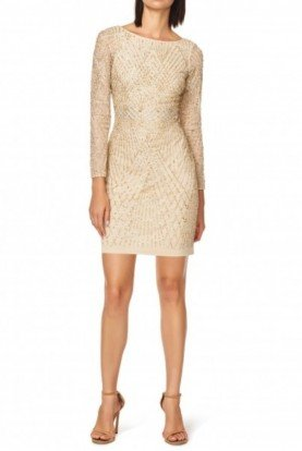 Aidan Mattox Light Gold Long Sleeve Cocktail Dress