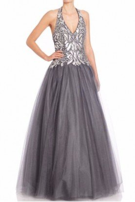 Silver Gunmetal  A Line Long Halter Evening Dress