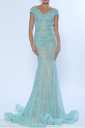 Aqua Green Mint Beaded Lace Trumpet Gown