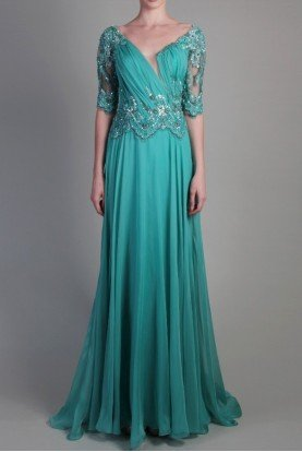 Beside Couture by Gemy Aqua Green Sleeved Evening Gown