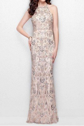3007 Blush Beaded Halter Evening Gown Prom Dress