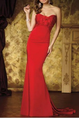 Strapless Red Sweetheart Trumpet Mermaid Gown