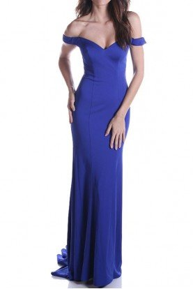 Cobalt Blue Of shoulder Mermaid Gown Evening Dress