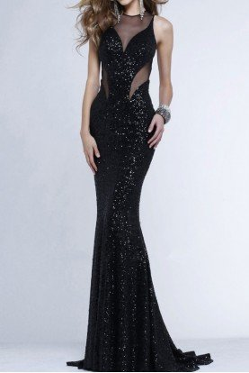7331 Sequin Beaded Black Fitted Gown Prom dress