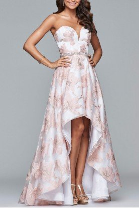 S10079 Posh Floral Hi Low Gown Prom Dress