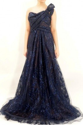 Strapless A Line Shimmer Ball Gown Dress w Bow