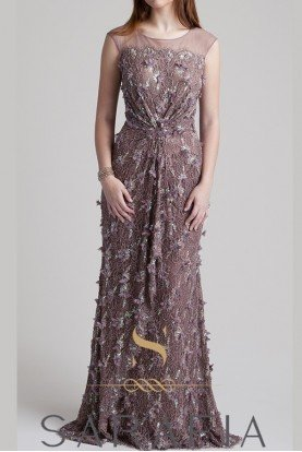 Cap Sleeve Allover Lace Applique Gown Mauve
