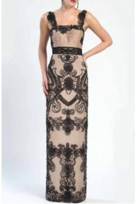 Sue Wong Sleeveless Gatsby Floral Embroidered Dress