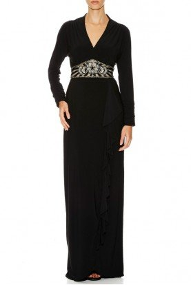Sue Wong Black Long Sleeve Belted Evening Gown Dress