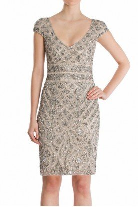 Metallic Cap Sleeve Sequin Beaded Cocktail Dress